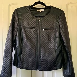 Ellen Tracy Quilted Bomber Jacket w/Silver Detail